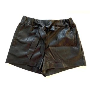 Zara TRF Faux Leather Tie Front Shorts